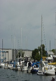 Boats in the channel in Cheboygan